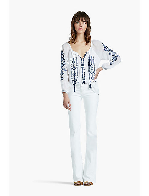 EMBROIDERED WOVEN MIX TOP,