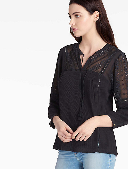 EYELET PEASANT TOP, 001 LUCKY BLACK