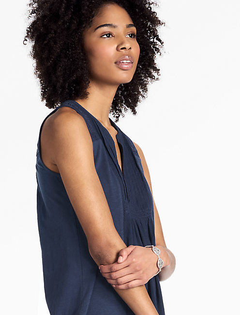 EMBROIDERED PINTUCK TANK, MEDIEVAL BLUE