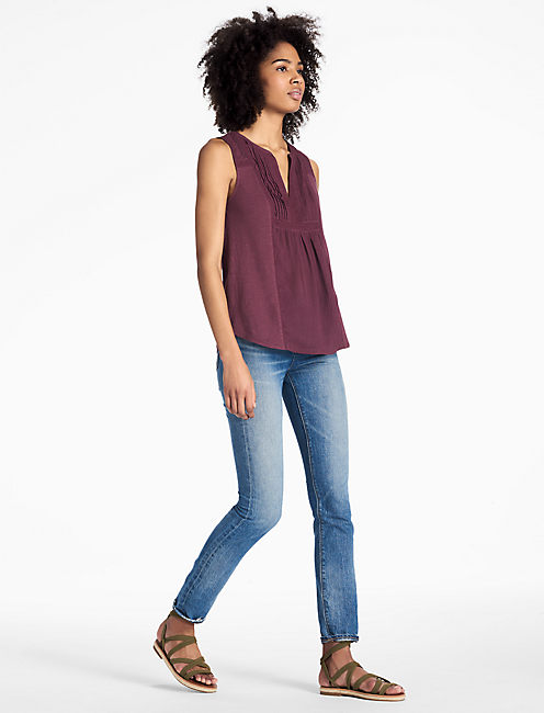 EMBROIDERED PINTUCK TANK, FIG