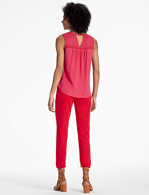 EMBROIDERED PINTUCK TANK, RASPBERRY WINE