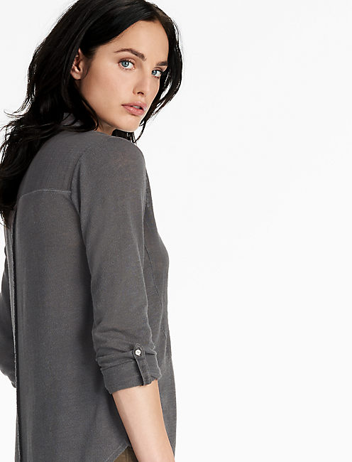 MIXED WOVEN GAUZE LONG SLEEVE TOP,