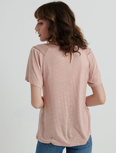 EMBROIDERED WOVEN MIX TOP, ROSE