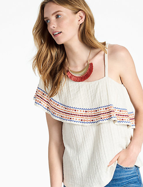 EMBROIDERED OFF THE SHOULDER TOP,