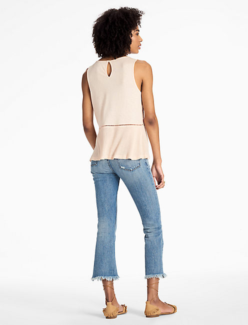 EMBROIDERED MIX SHELL TOP,