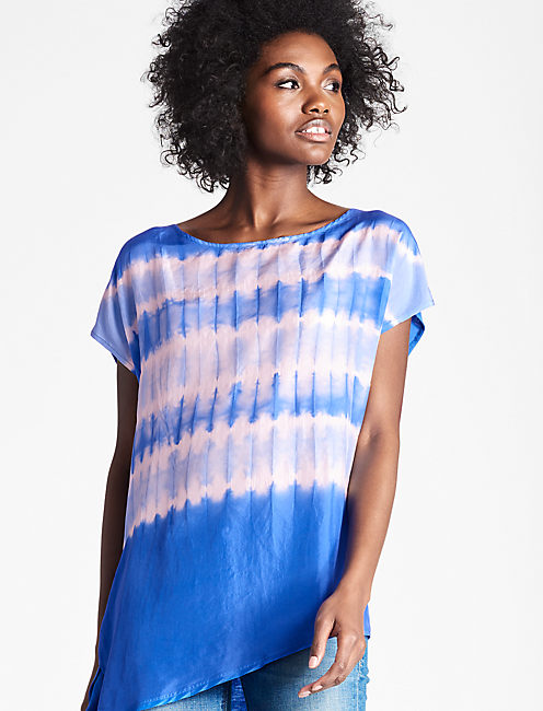 TIE DYE SILK MIX TOP,