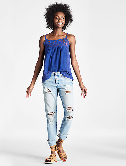 LACED MIXED TANK,