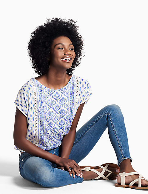 PRINTED WOVEN MIX TOP, NATURAL MULTI