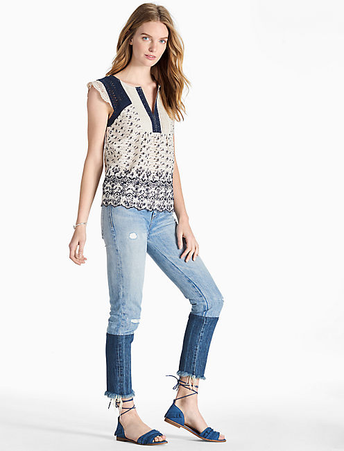 PRINTED EMBROIDERED FLUTTER TOP,