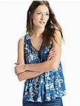 FLORAL LACE TANK, BLUE MULTI