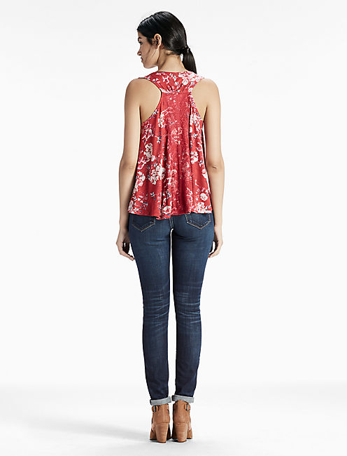 FLORAL LACE TANK, RED MULTI