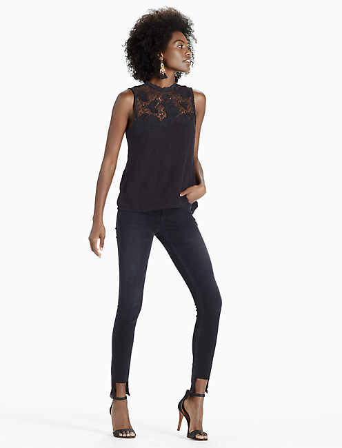 LACE MOCK NECK, 001 LUCKY BLACK