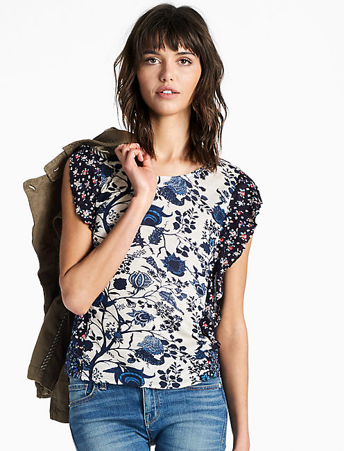 MIXED PRINT RUFFLE TOP,