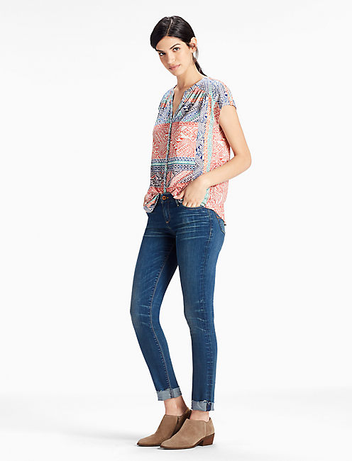 RENA BORDER PRINT TOP, ROSE MULTI
