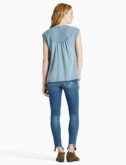 WASHED EYELET TOP, CAPTAIN BLUE