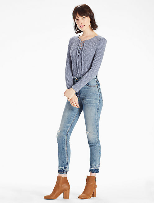 LACE-UP RIB TOP, BLUE MELANGE