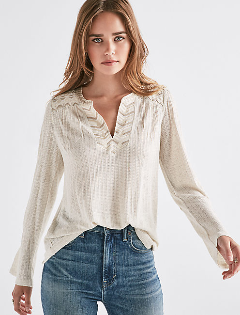 DROP NEEDLE EMBROIDERED TOP,
