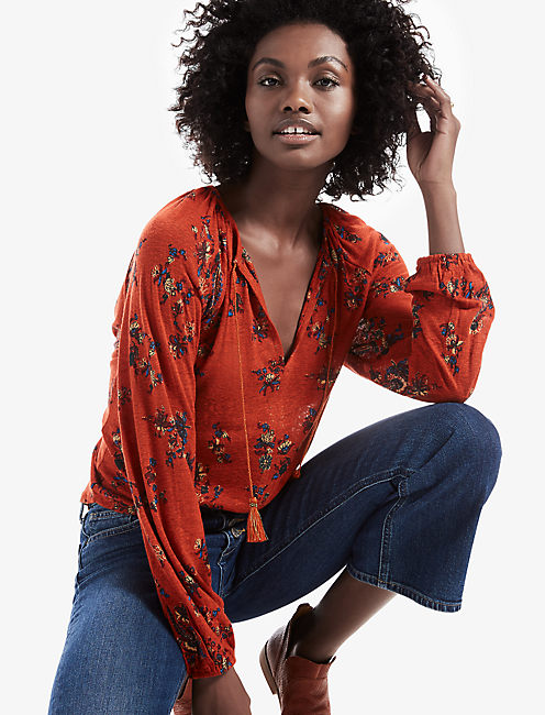PRINTED PEASANT TOP,
