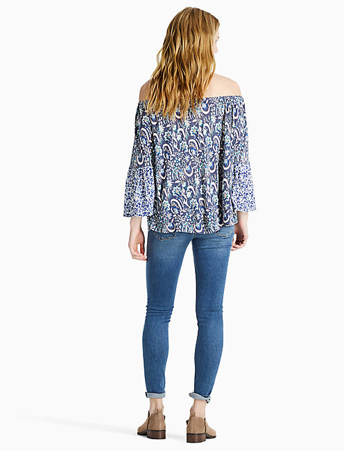 OFF THE SHOULDER TOP, BLUE MULTI