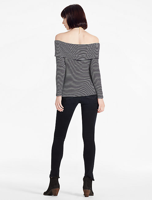 STRIPED OFF THE SHOULDER, NAVY/WHITE