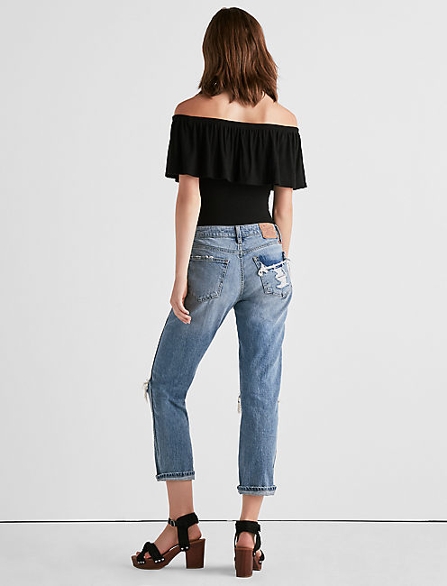 RIBBED OFF-SHOULDER BODYSUIT,