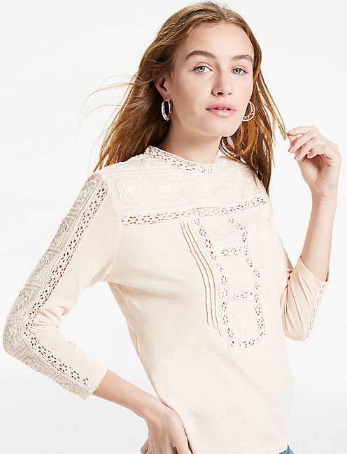 EMBROIDERED NECK TOP,