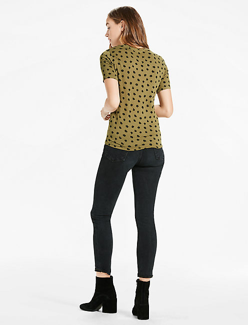 DITSY TIE FRONT TEE,