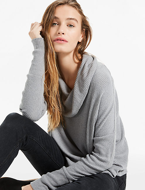 TULIP HEM PULLOVER, MEDIUM HEATHER GRAY