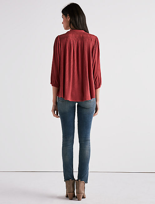 DROP NEEDLE DOLMAN BLOUSE, CINNASPICE
