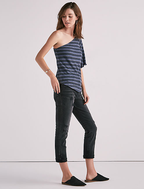 ONE SHOULDER STRIPED TOP,