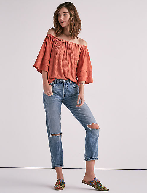 TIERED SLEEVE OFF THE SHOULDER TOP,