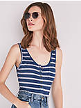 STRIPED SLEEVELESS BODYSUIT,