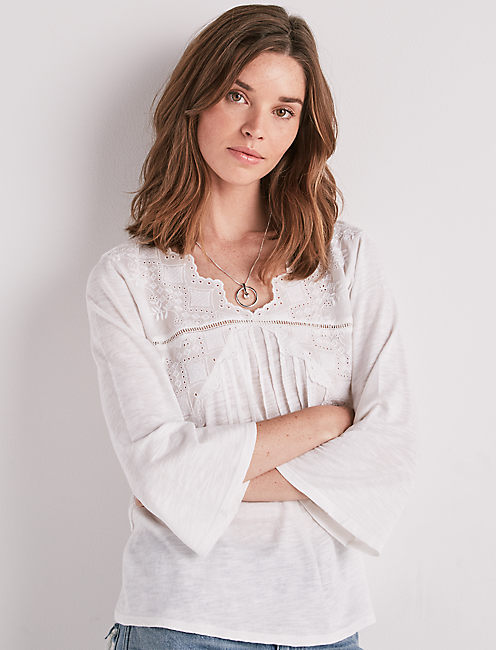 LONG SLEEVE EYELET TOP, BRIGHT WHITE