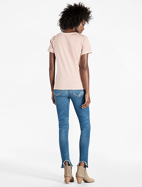 WASHED LACE CORSET TEE,