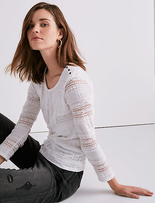 RUFFLE LACE MOCK NECK TOP,