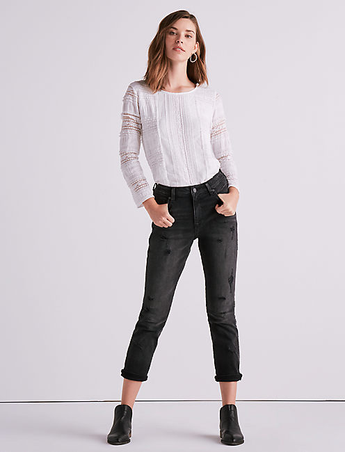 Lucky Ruffle Lace Mock Neck Top