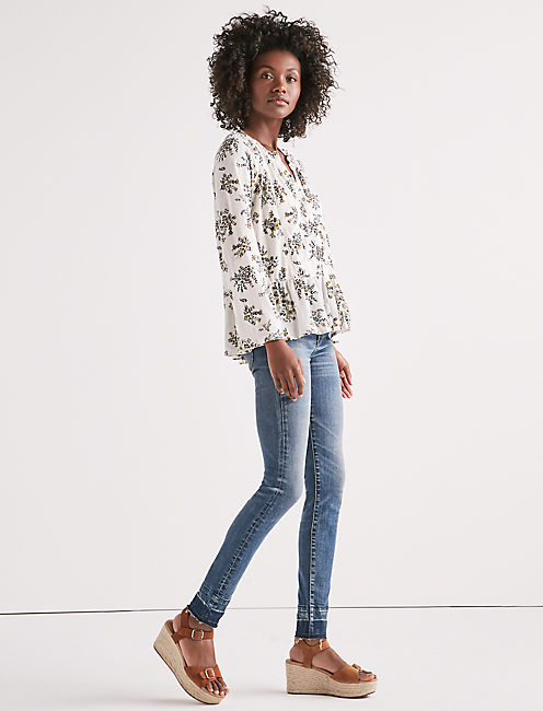 Lucky Printed Peplum Button Up Top