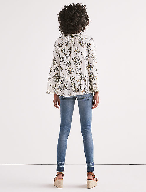 PRINTED PEPLUM BUTTON UP TOP, NATURAL MULTI