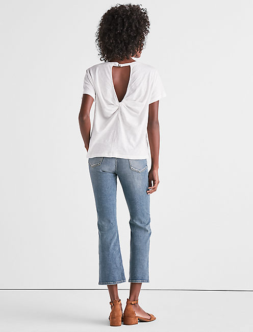 TWIST BACK TEE, LUCKY WHITE