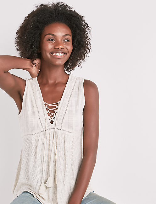 DROP NEEDLE LACE UP TANK, NATURAL