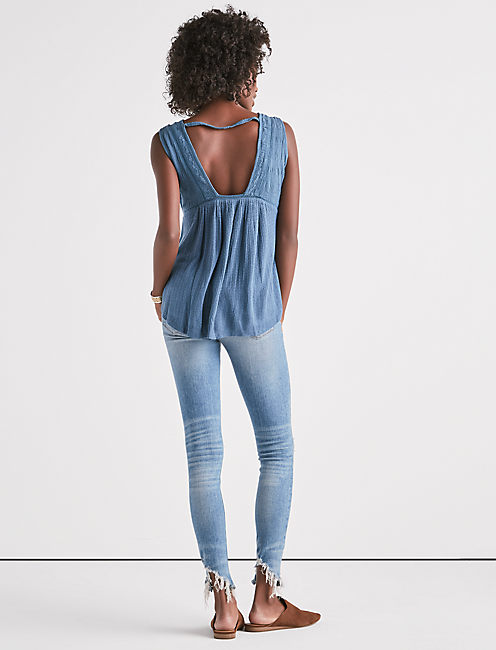 DROP NEEDLE LACE UP TANK, STELLAR
