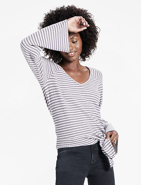 Stripe Bell Sleeve Tie Front Top,