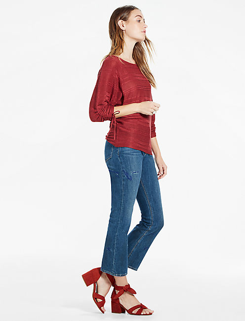 BOAT NECK RUCHED SLEEVE TOP, BURGUNDY