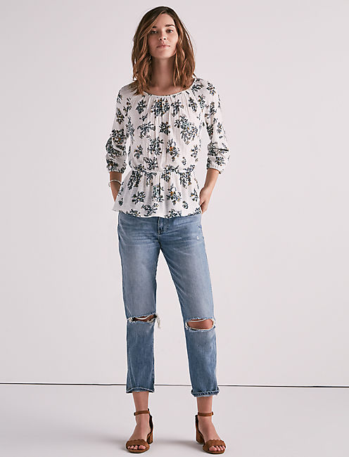 COLD SHOULDER DROP NEEDLE TOP, NATURAL MULTI