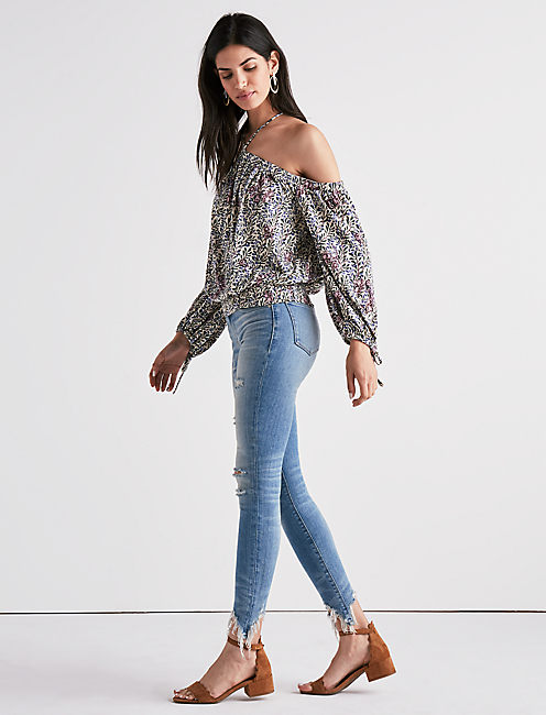 PRINTED COLD SHOULDER HALTER TOP,