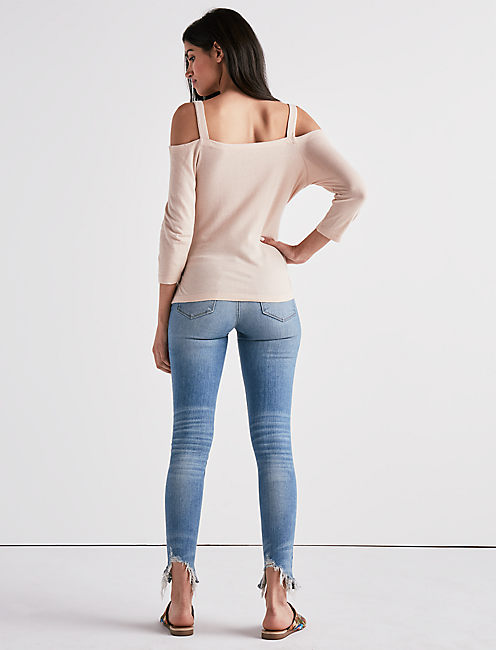 TIE FRONT OFF THE SHOULDER TEE, ROSE DUST