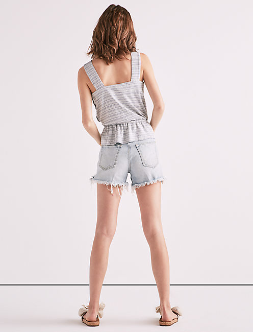 BUTTON UP STRIPE PEPLUM TANK,