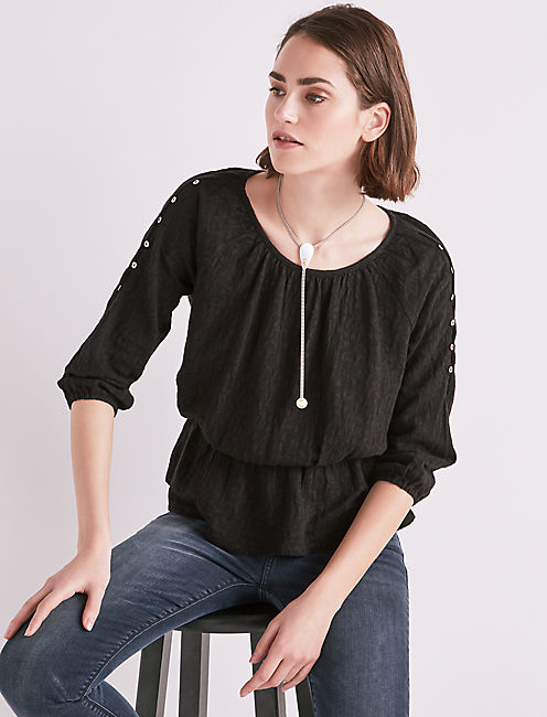 JACQUARD COLD SHOULDER TOP,