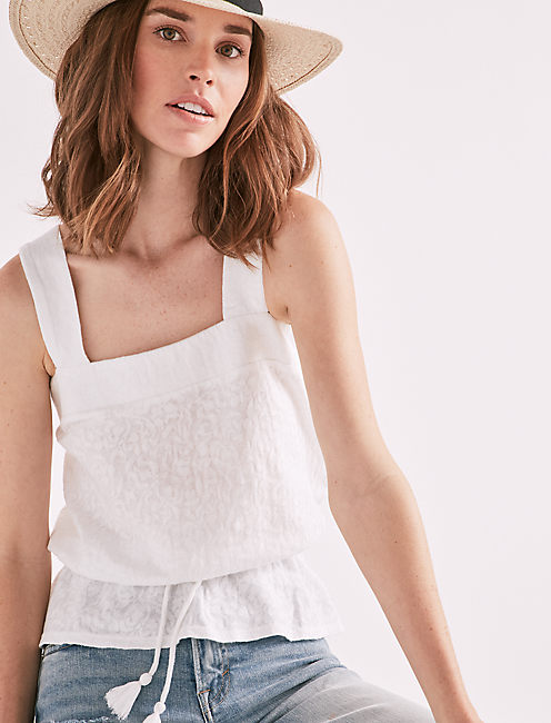 BUTTON DETAIL PEPLUM TANK,