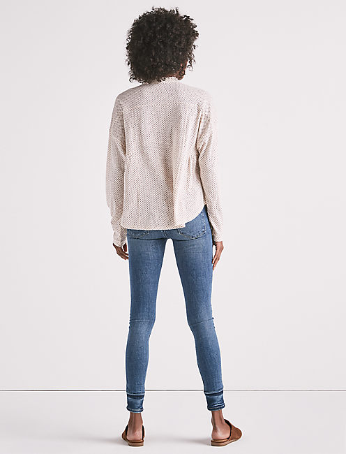 GAUZE MIX LONG SLEEVE HENLEY TOP,